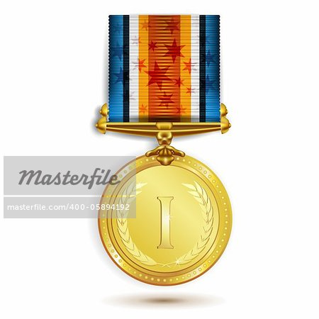 Gold medal with ribbon on white Stock Photo - Budget Royalty-Free, Image code: 400-05894192