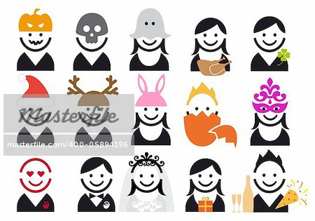celebration people, vector icon set Stock Photo - Budget Royalty-Free, Image code: 400-05894196