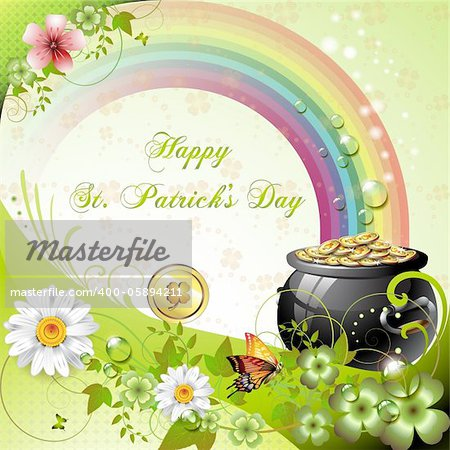 St. Patrick's Day card design with clover and coins Stock Photo - Budget Royalty-Free, Image code: 400-05894211
