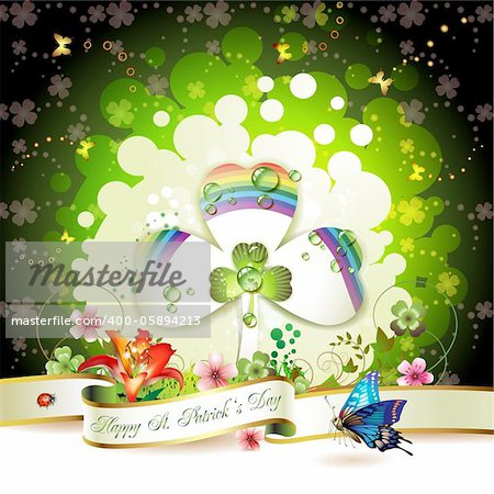 St. Patrick's Day card design with clover Stock Photo - Budget Royalty-Free, Image code: 400-05894213