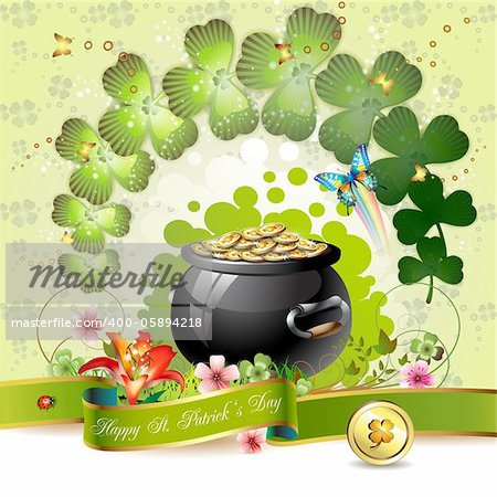 St. Patrick's Day card design with clover and coins Stock Photo - Budget Royalty-Free, Image code: 400-05894218