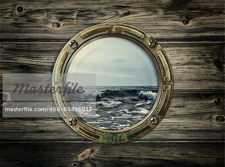 porthole with view at the sea Stock Photo - Budget Royalty-Free, Image code: 400-05895013