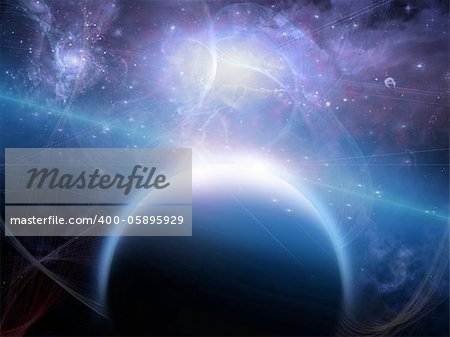 Planet with nebulos filaments Stock Photo - Budget Royalty-Free, Image code: 400-05895929