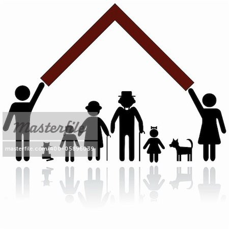 Protection people silhouette family icon. Person vector woman, man. Child, granfather, grandmother, dog, cat, babby buggy, carriage. Home illustration. Stock Photo - Budget Royalty-Free, Image code: 400-05896039
