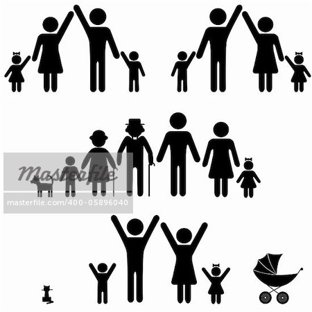People silhouette family icon. Person vector woman, man. Child, granfather, grandmother, dog, cat, babby buggy, carriage. Generation illustration. Stock Photo - Budget Royalty-Free, Image code: 400-05896040