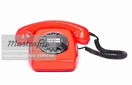 red bakelite phone on white background Stock Photo - Budget Royalty-Free, Image code: 400-05900788
