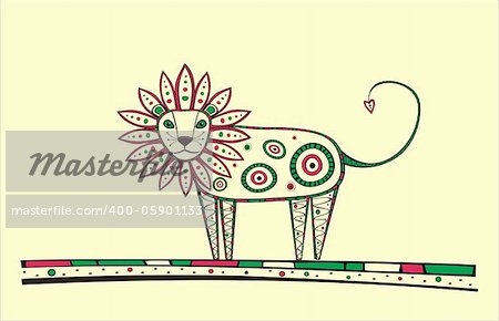 Illustration of lion, produced in ethno style with the unique colour Stock Photo - Budget Royalty-Free, Image code: 400-05901133