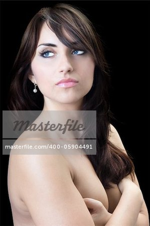 Bare young woman with thoughtful look. Isolated on black Stock Photo - Budget Royalty-Free, Image code: 400-05904491