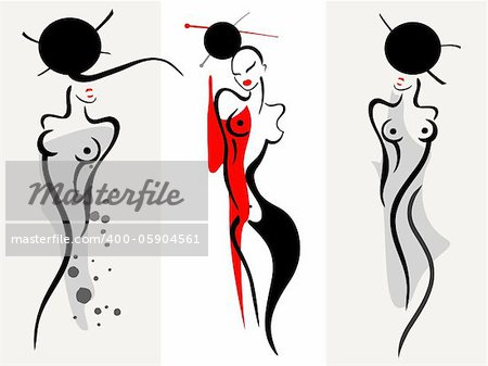 Beautiful  asian women silhouette. Vector illustration.