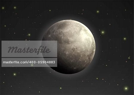Vector illustration of cool single weather icon - realistic moon in the night sky Stock Photo - Budget Royalty-Free, Image code: 400-05904883
