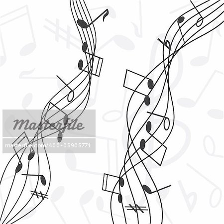 musical notes staff vector illustration