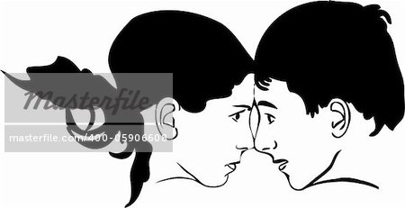 sketch of boy and girl face to face looking at each other