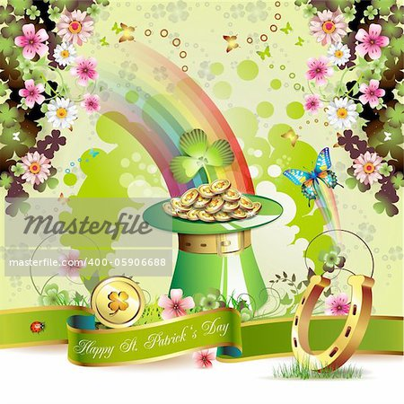 St. Patrick's Day card design with clover and coins Stock Photo - Budget Royalty-Free, Image code: 400-05906688