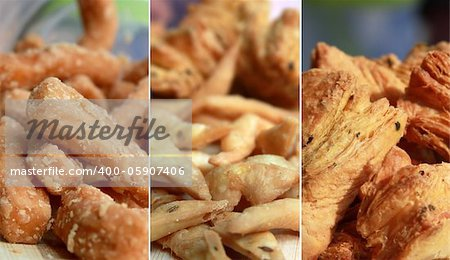 collage of sweet and salty snacks and pastries Stock Photo - Budget Royalty-Free, Image code: 400-05907406