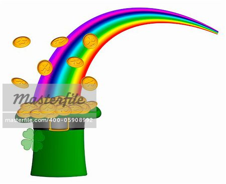 Saint Patricks Day Hat of Gold with Shamrock Coins and Rainbow Illustration Stock Photo - Budget Royalty-Free, Image code: 400-05908992