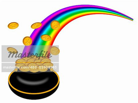 Saint Patricks Day Pot of Gold with Shamrock Coins and Rainbow Illustration Stock Photo - Budget Royalty-Free, Image code: 400-05908993