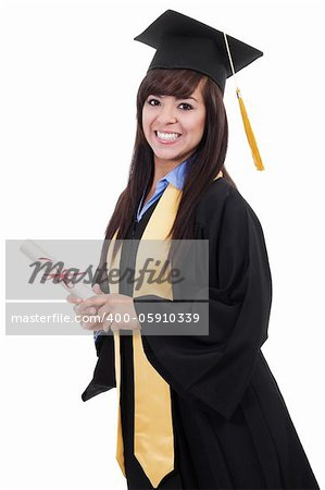 Stock image of female graduate isolated on white background Stock Photo - Budget Royalty-Free, Image code: 400-05910339