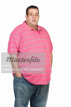 Fat man with pink shirt isolated on white background Stock Photo - Budget Royalty-Free, Image code: 400-05910431