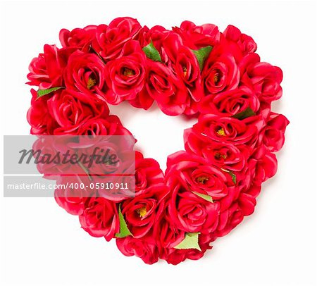 Heart Shaped Red Rose Arrangement on a White Background. Stock Photo - Budget Royalty-Free, Image code: 400-05910911