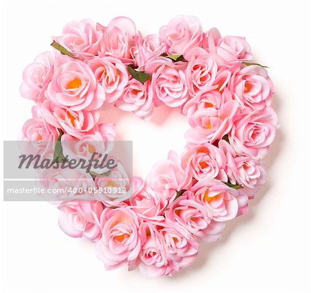 Heart Shaped Pink Rose Arrangement on a White Background. Stock Photo - Budget Royalty-Free, Image code: 400-05910912