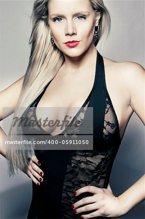 young blond girl in black lingerie with big breasts Stock Photo - Budget Royalty-Free, Image code: 400-05911050