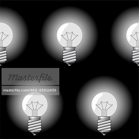 Black-and-white abstract background with electrical a sphere-form lamps for your design. Seamless pattern. Vector illustration. Stock Photo - Budget Royalty-Free, Image code: 400-05911430