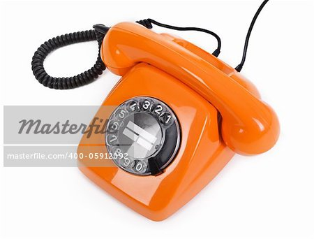 classic dial phone on white background Stock Photo - Budget Royalty-Free, Image code: 400-05912092