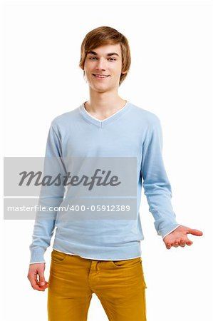 Happy and friendly young man isolated over a white background Stock Photo - Budget Royalty-Free, Image code: 400-05912389