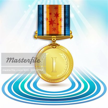 Gold medal with ribbon over sky background Stock Photo - Budget Royalty-Free, Image code: 400-05917744