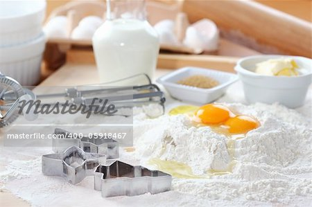 Baking ingredients for cake, pastry or cookies Stock Photo - Budget Royalty-Free, Image code: 400-05918467