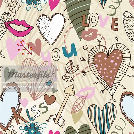 Retro seamless pattern with hearts, flowers and kisses