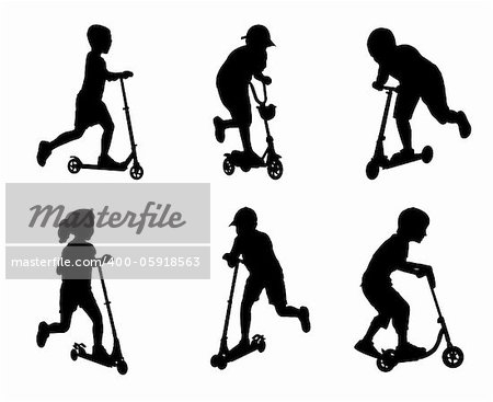 children scooting silhouettes - vector illustration Stock Photo - Budget Royalty-Free, Image code: 400-05918563