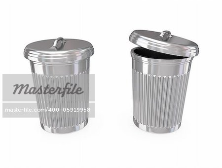 Chromed dustbin. 3d rendered.Isolated on white background. Stock Photo - Budget Royalty-Free, Image code: 400-05919958