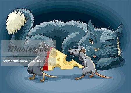 The Cunning cat keeps a check on mouse with cheese