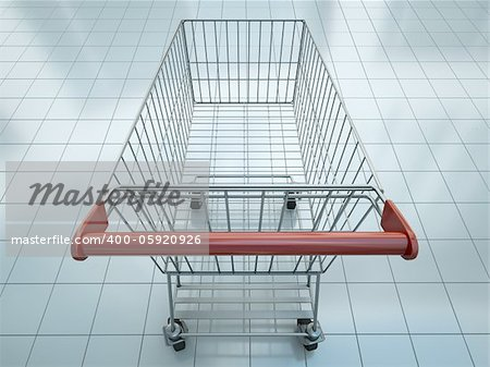 Empty shopping cart seen from shopper's perspective. 3D render. Stock Photo - Budget Royalty-Free, Image code: 400-05920926
