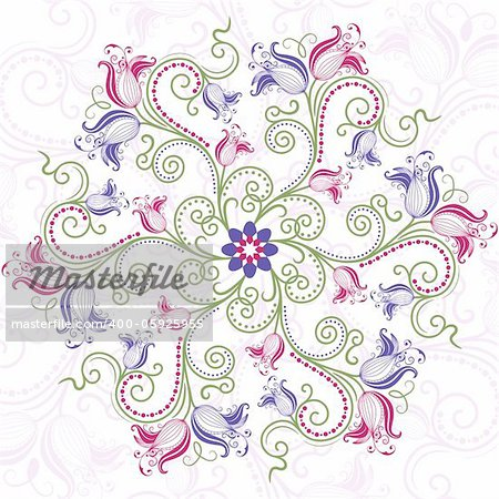 Round floral frame with colorful vintage flowers (vector)