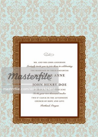 Vector Extra Ornate Frame and Pattern. Easy to edit. Perfect for invitations or announcements. Stock Photo - Budget Royalty-Free, Image code: 400-05926811