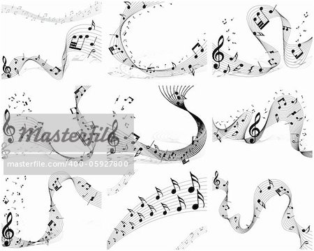 Nine vector musical notes staff backgrounds for design use
