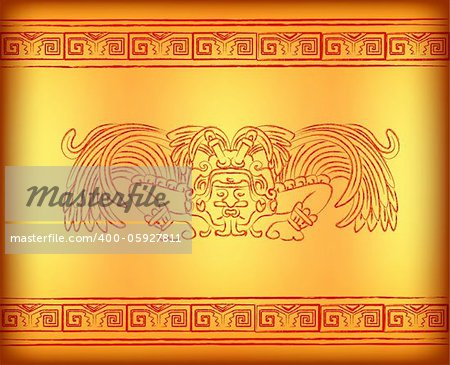 Background with mayan god with wings Stock Photo - Budget Royalty-Free, Image code: 400-05927811
