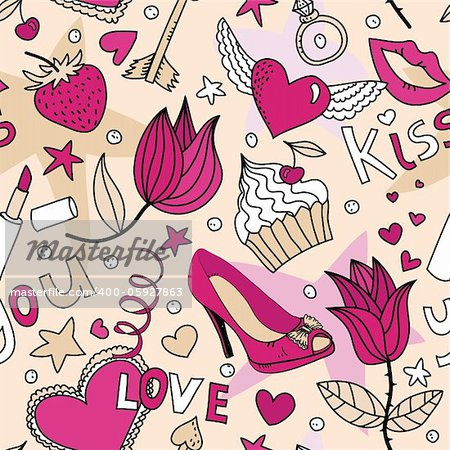 seamless pattern with flowers, cakes,  shoes, lipstick, strawberry and other things