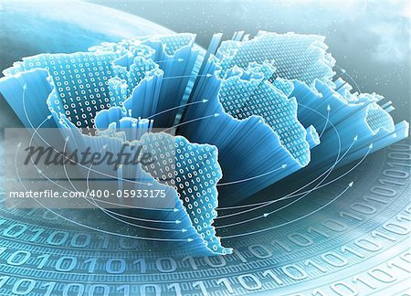 World Map interconnected by information. Concept of global information and technology of communication. Stock Photo - Budget Royalty-Free, Image code: 400-05933175