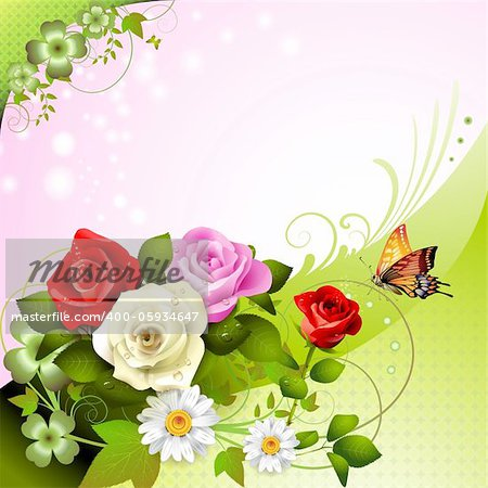 Background with roses and butterflies Stock Photo - Budget Royalty-Free, Image code: 400-05934647