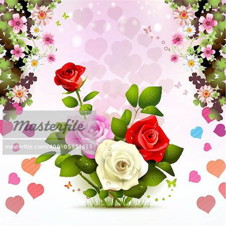 Valentine's day card with roses Stock Photo - Budget Royalty-Free, Image code: 400-05934653