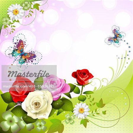 Background with roses and butterflies Stock Photo - Budget Royalty-Free, Image code: 400-05934695