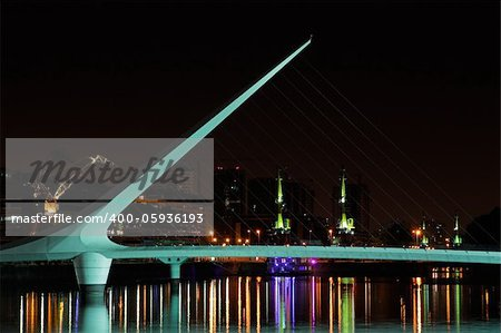 Bridge of the Woman (Puente De La Mujer) by night, Buenos Aires, Argentina Stock Photo - Budget Royalty-Free, Image code: 400-05936193