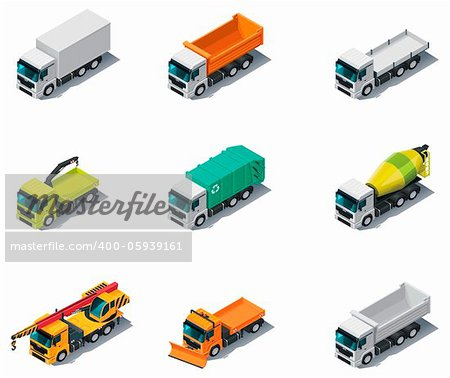 Set of isometric generic trucks (different types) Stock Photo - Budget Royalty-Free, Image code: 400-05939161