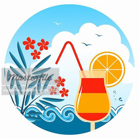 vector cocktail on the beach, oleander and waves, Adobe Illustrator 8 format Stock Photo - Budget Royalty-Free, Image code: 400-05944023