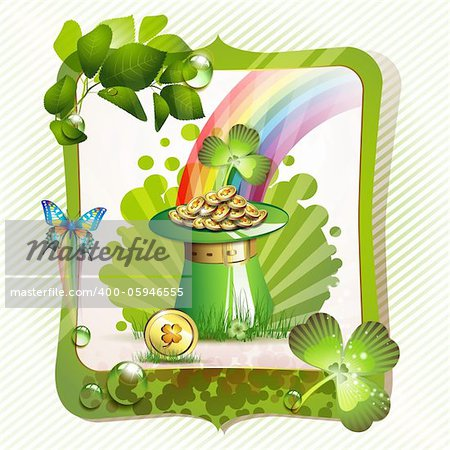 St. Patrick's Day card design with hat and coins Stock Photo - Budget Royalty-Free, Image code: 400-05946555