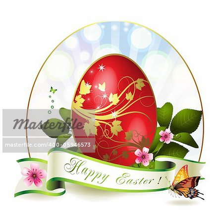 Easter card with red egg and butterfly Stock Photo - Budget Royalty-Free, Image code: 400-05946573