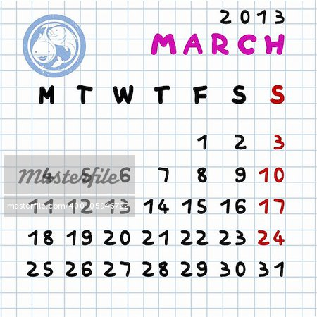 450 x 450 · 56 kB · jpeg, 2013 monthly calendar March with Pisces